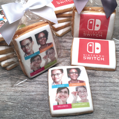 Custom Rectangle Logo Cookies with Ribbon Bow