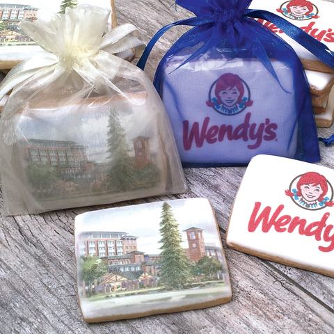 Custom Rectangle Logo Cookies in Organza Bag
