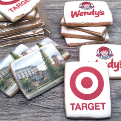 Custom Rectangle Logo Cookies in Cello Wrap