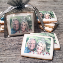 Custom Rectangle Photo Cookies in Organza Bag