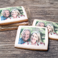 Custom Rectangle Photo Cookies in Cello Wrap