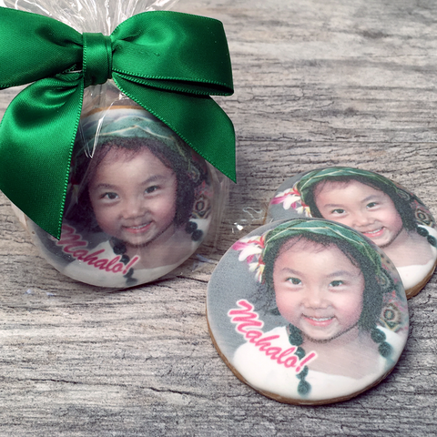 Custom Round Photo Cookies with Ribbon Bow