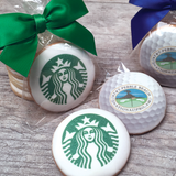 Custom Round Logo Cookies with Ribbon Bow