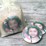 Custom Round Photo Cookies in Organza Bag