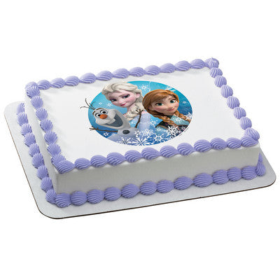 Frozen Olaf, Elsa & Anna Photo Cake