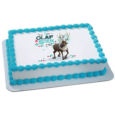 Disney Frozen Olaf and Sven Photo Cake