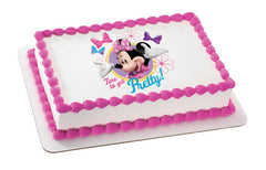 Mickey and Friends Minnie Time To Get Pretty  Photo Cake