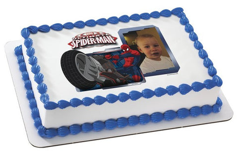 Spider-Man Ultimate Motorcycle Photo Cake