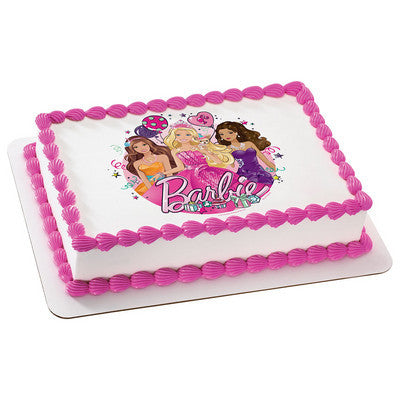 Barbie Glitter Birthday Photo Cake