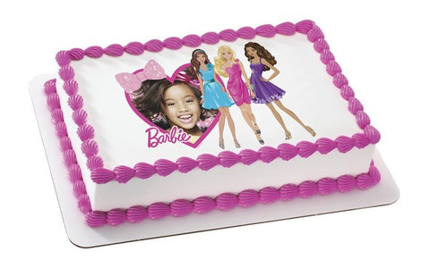 Barbie Heart and Bows Photo Cake