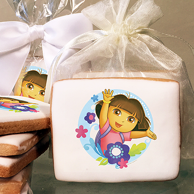 Dora the Explorer Flowers Photo Cookies