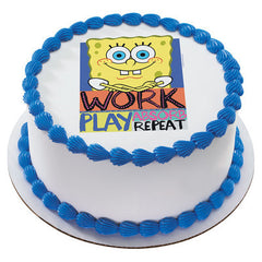 SpongeBob SquarePants Work and Play  Photo Cake