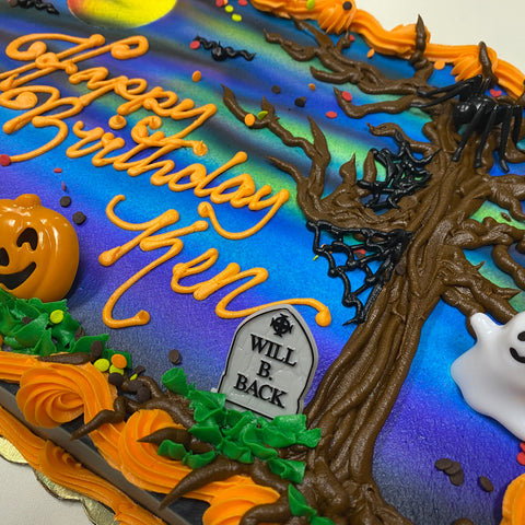 Buttercream Spooky Halloween Night Scene Cake