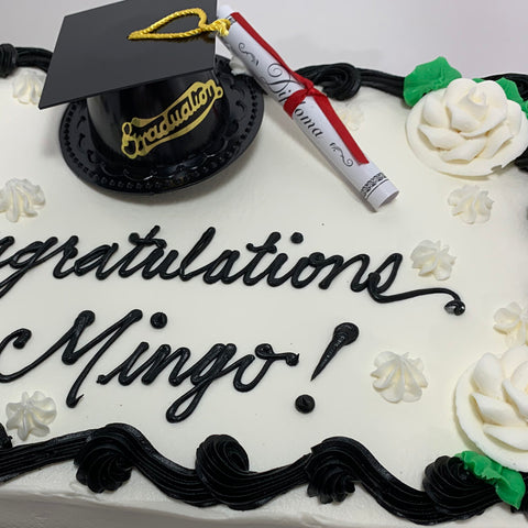 Graduation Cap and Diploma with Roses Cake Design