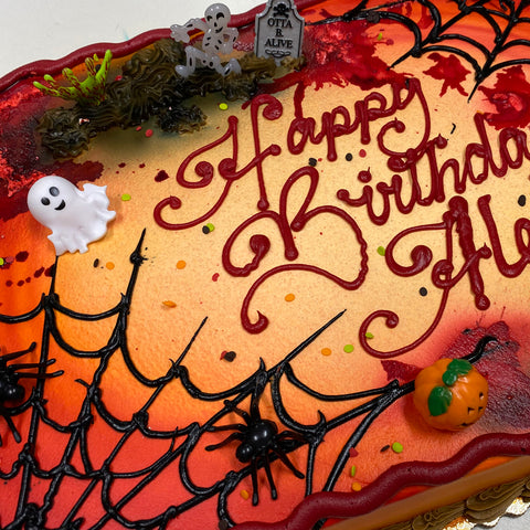 Buttercream Spider Web and Halloween Gore Cake