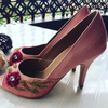 Peach Embroidered Peeptoes by Preet Kaur