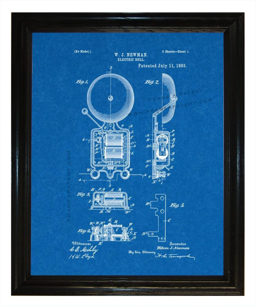 Electric Bell patent print - Man Cave Ideas  - 3