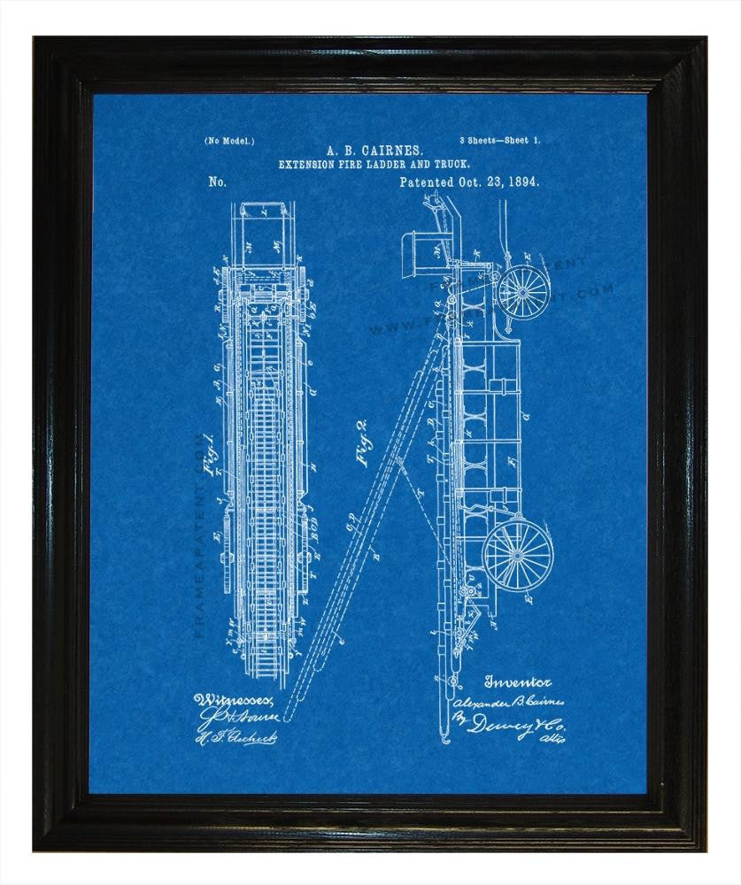 Extension Fire-ladder and Truck patent print - Man Cave Ideas  - 3