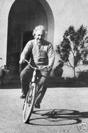 Albert Einstein Riding Bicycle vintage print - Man Cave Ideas