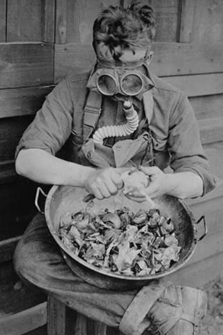 World War 1 American Soldier Peeling Onions in Gas Mask vintage print - Man Cave Ideas