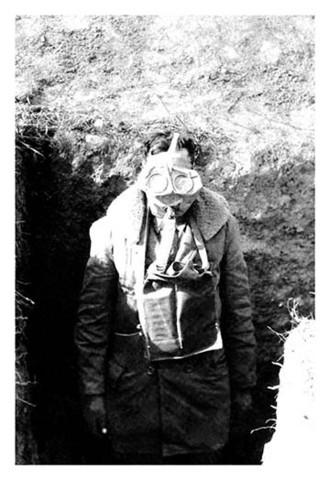 World War 1 American Soldier Wearing Gas Mask vintage print - Man Cave Ideas