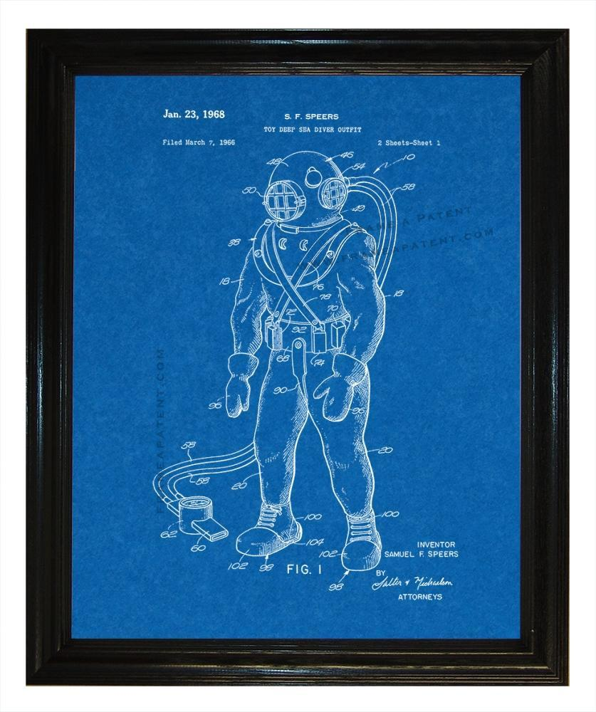 Toy Deep Sea Diver Outft patent wall covering - Man Cave Ideas  - 1