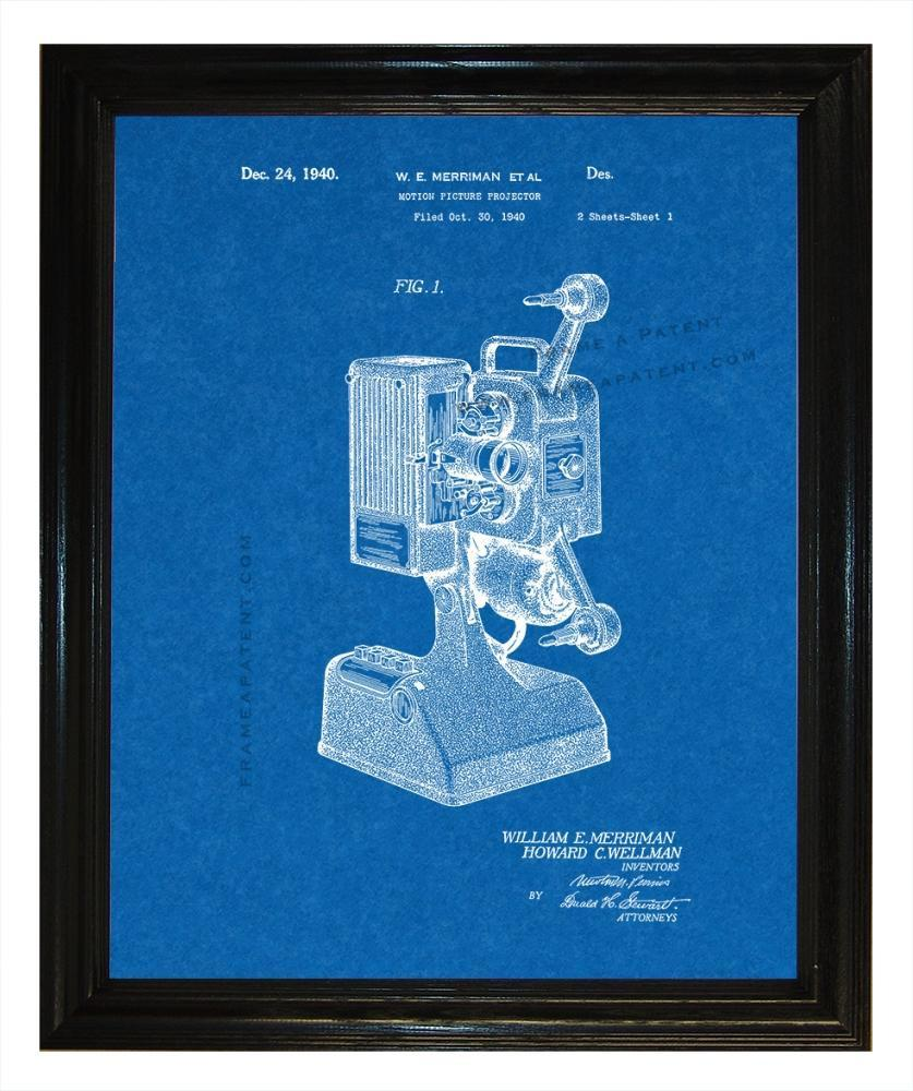Motion Picture Projector Patent wall covering - Man Cave Ideas  - 2