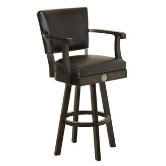 Jack Daniel's® Wood Bar Stool w/backrest - Tennessee Charcoal finish