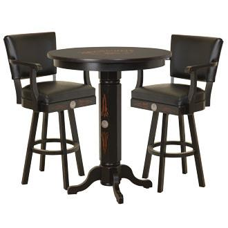 JD® Wood Pub Table & Backrest Barstool Set - TN Charcoal