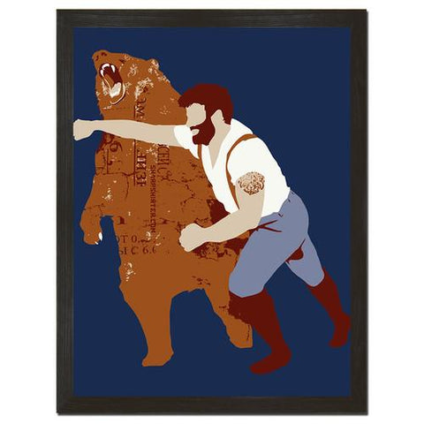 Man Punching Bear Print Art (vertical) - Man Cave Ideas