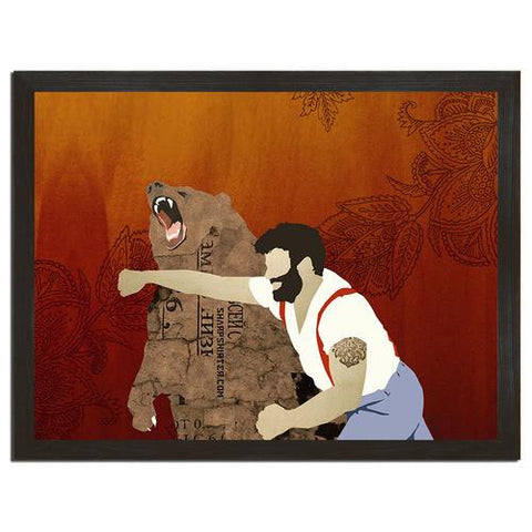 Man Punching Bear Print Art (horizontal) - Man Cave Ideas