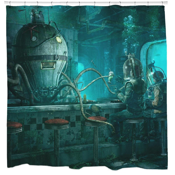 Octopus Diner Shower Curtain