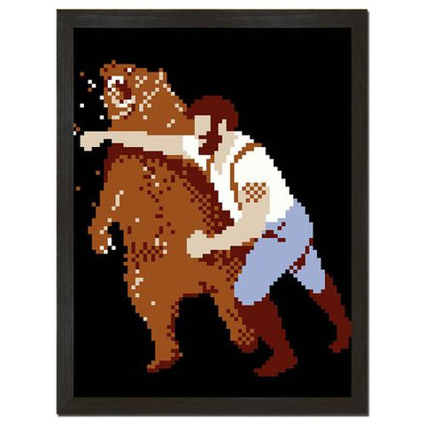 Pixelated Man Punching Bear Print Art - Man Cave Ideas