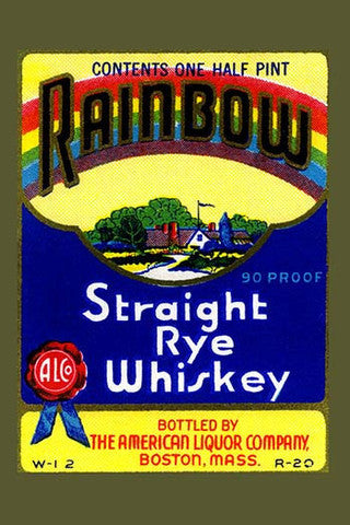 'Rainbow Straight Rye Whiskey' Advertisement vintage print - Man Cave Ideas