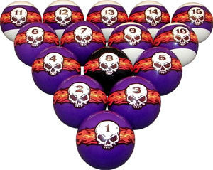 Flaming Skull Print Pool / Billiard Ball Set - Man Cave Ideas