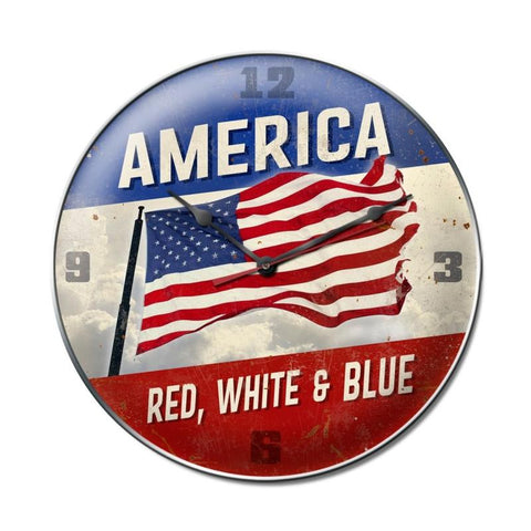 America Red White Blue Clock - Man Cave Ideas