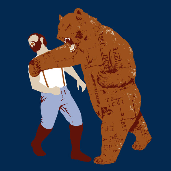 Bear Punches Man Back T Shirt Man Cave Ideas