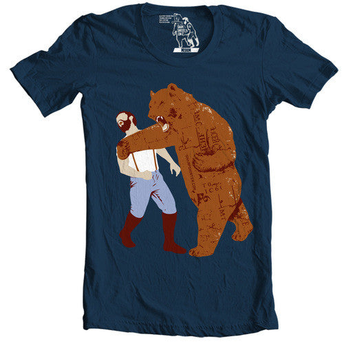 Bear Punches Man Back T-shirt - Man Cave Ideas  - 1