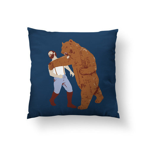 Bear Punches Man Back Large Throw Pillow - Man Cave Ideas