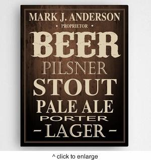 Personalized Beer Canvas Print - Man Cave Ideas