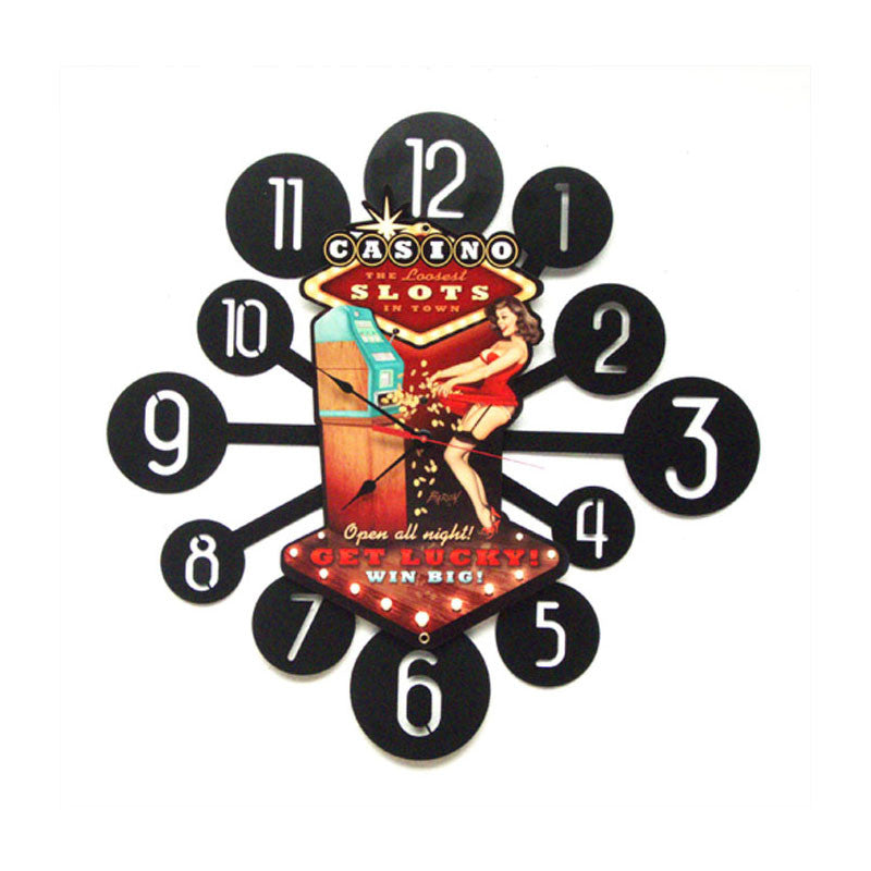 Casino Pinup Clock - Man Cave Ideas