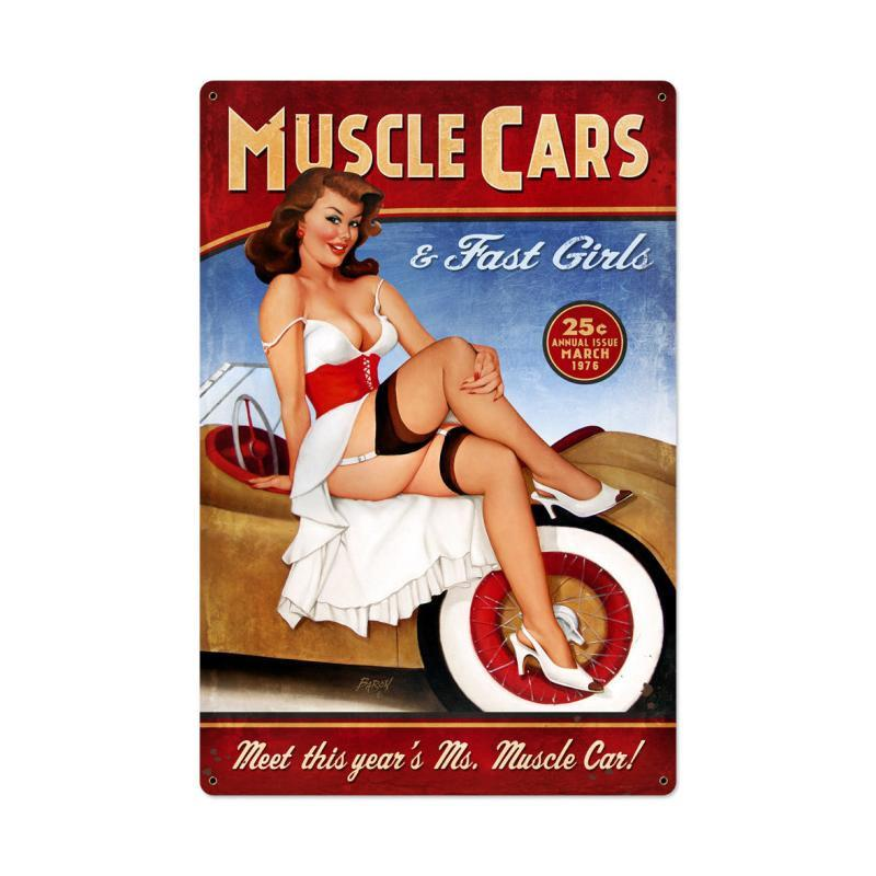 Muscle Cars XL Metal Sign - Man Cave Ideas