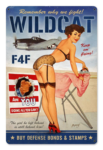 Wildcat F4F - Large Metal Sign - Man Cave Ideas