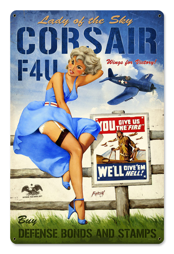 Corsair F4U Large Metal Sign - Man Cave Ideas