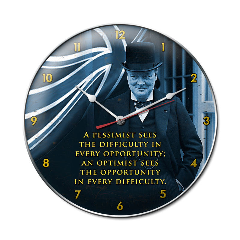Churchill Pessimist Clock - Man Cave Ideas