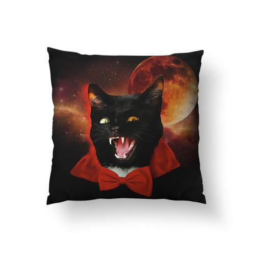 Vampire Cat Large Throw Pillow - Man Cave Ideas
