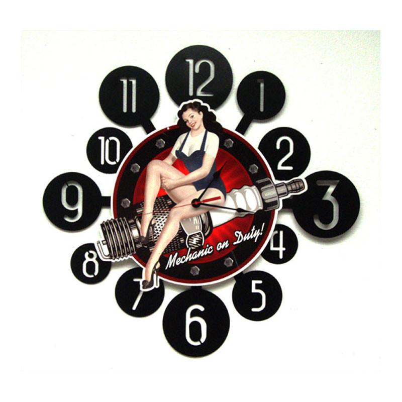 Spark Plug Pinup Clock - Man Cave Ideas