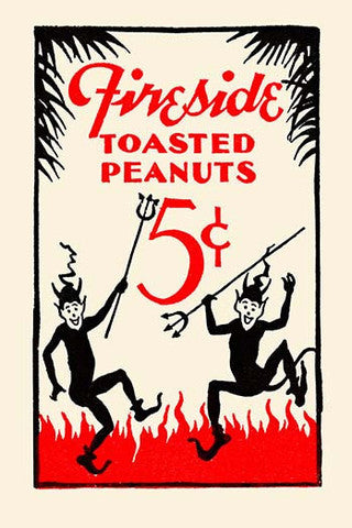 'Fireside Toasted Peanuts' Advertisement vintage print - Man Cave Ideas