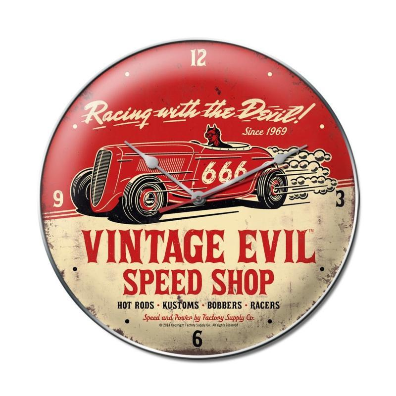 Vintage Evil racing devil clock - Man Cave Ideas