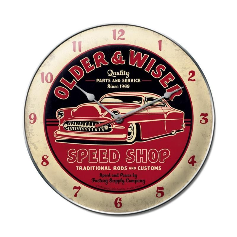 Older and Wiser Speed Shop clock - Man Cave Ideas